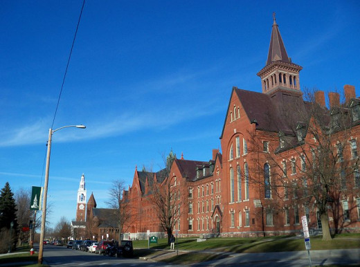 The University of Vermont Main Campus. The Billings Center is second from the left, near the Ira Allen Chapel.