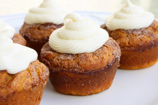 Make your own pumpkin spice muffins with cream cheese frosting.