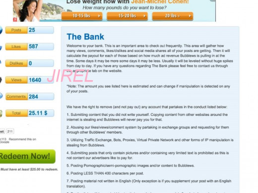 This is how your bank looks like Take note of the Likes, dislikes, comments, views and number of posts