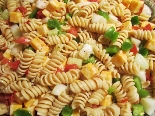 Zesty Pasta Salad Prepared for a Corporate Party