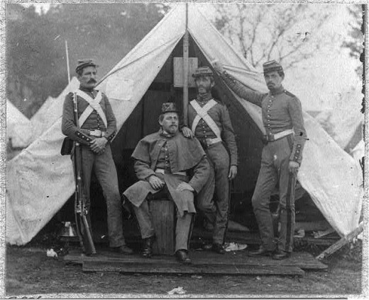 Officers and a sentry for the 7th Regiment, New York Militia