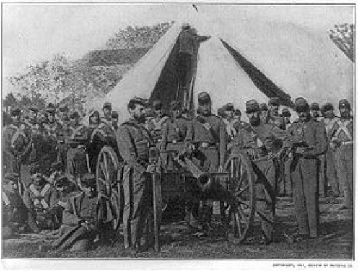 A Company of the 7th Regiment, New York Militia grouped about a cannon (which was not theirs)
