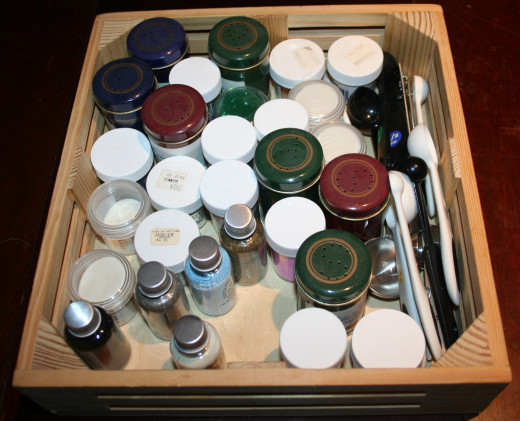 Tray of embossing powders I keep in a drawer, along with measuring spoons.