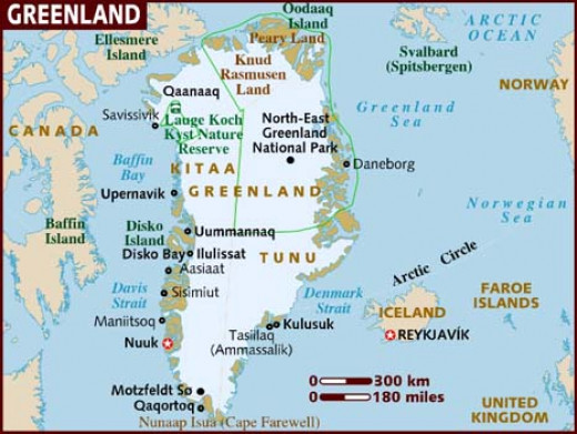 Map of Iceland and Greenland