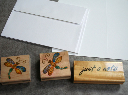 I just happened to have two similar dragonfly stamps.