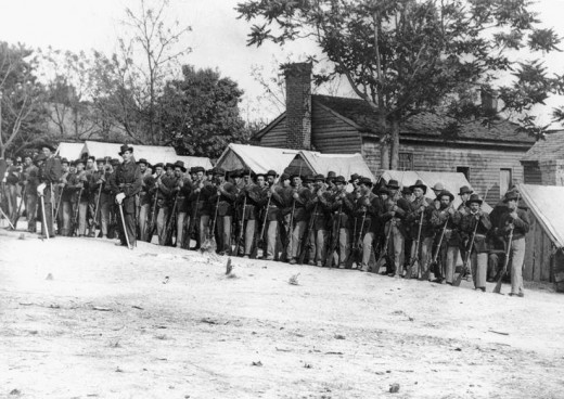 An infantry Company standing at Rest.