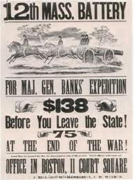 Recruitment poster for an artillery unit in Massachusetts