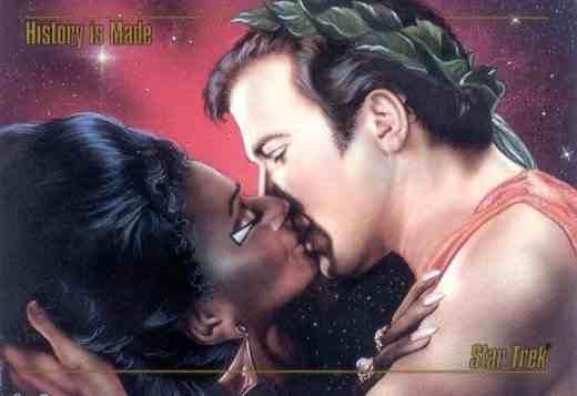 - Lieutenant Uhura ( Nichelle Nichols ), and Capt. James T. Kirk ( William Shatner ) share a piece of T.V. history together. -