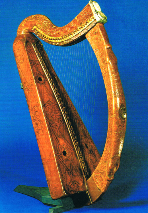 The Irish harp with its particularly recognisable shape - see below