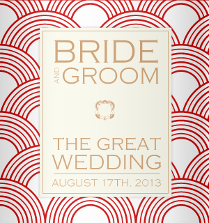 Red and cream wedding koozies.
