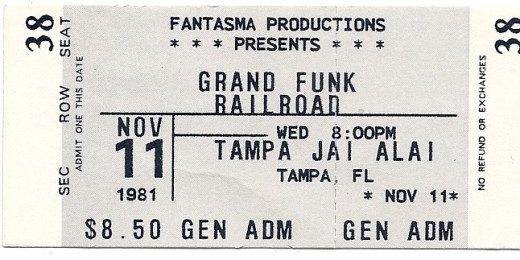 Grand Funk Railroad ticket from a concert in Tampa, Florida on November 11, 1981.