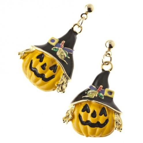 Halloween Costume Jewelry Happy Pumpkin Witch Face Dangle Earrings Gold Black