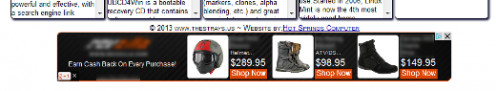 Here is a screen shot of the Google AdSense advertisement placed on the website.