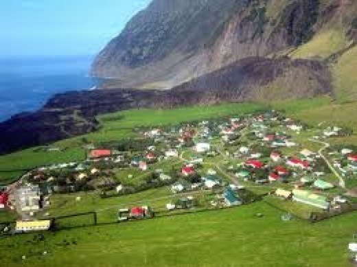 The inahbitants village of Tristan da Cunha