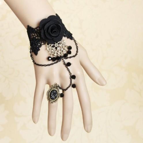 Fashion Handmade Vintage Rose Crystal Lace Wristband Bracelet with Ring Black
