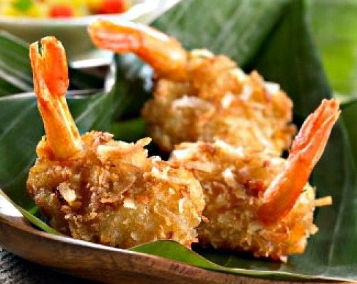 Crispy Coconut Shrimp Batter Recipe, with Yogurt, Mango, Chive Dip