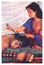 Delilah cutting Samon's hair