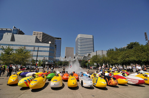 A gathering of velomobiles in Portland (USA)