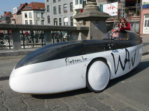 Black and white WAW Velomobile