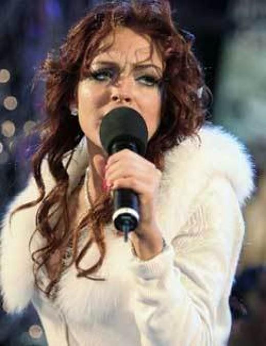 Lindsay Lohan performing