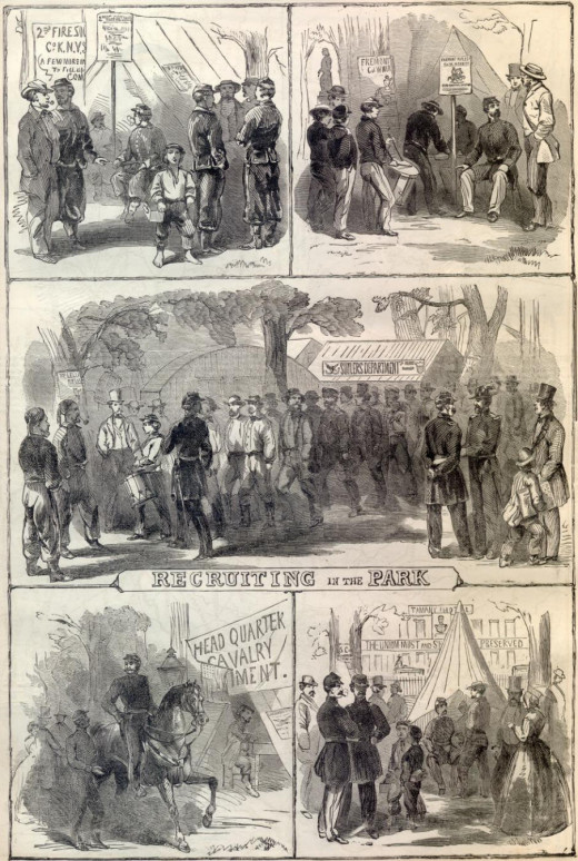 A multi-paneled illustration of the recruiting fervor in the Union