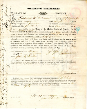 An example of a Volunteer Enlistment document