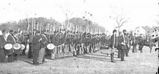 A Volunteer Regiment stands at attention during parade
