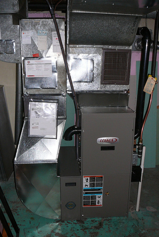 A residential gas furnace installed in 2007.