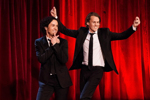 Ylvis in 2012. Vegard left, Bård right.