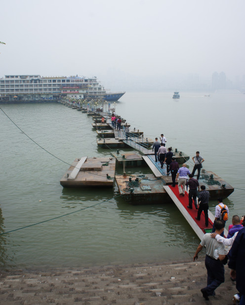 Pontoon bridge to our Yangtze cruise ship. There were only five other non-Chinese on this cruise with us, making it a very authentic experience.