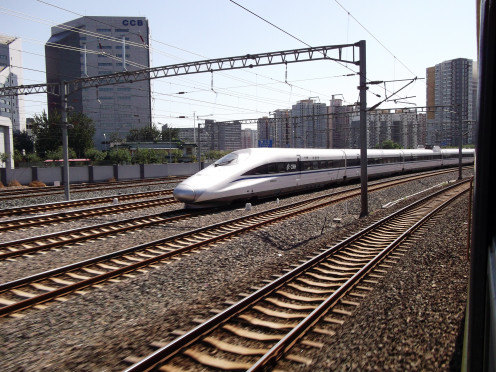 Bullet Train in Beijing. These speedsters criss-cross the country and are great for short haul trips, however, we prefer the slower sleeper trains for overnight journeys.