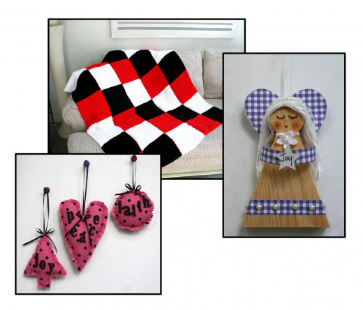 Scrap fabric ornaments, knitted afghan and cute Joy Wooden Angel