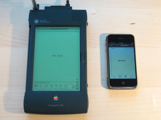 Apple Newton (circa 1993), with iPhone for size comparison