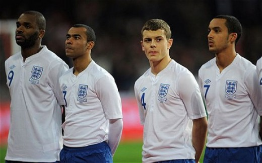 Wilshere lining up before making his England debut against Hungary, 2010.