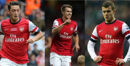 Mesut Ozil, Aaron Ramsey and Jack Wilshere are all part of the creative Arsenal midfield.