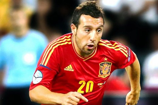 Cazorla playing for Spain.