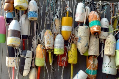Lobster boat buoys.