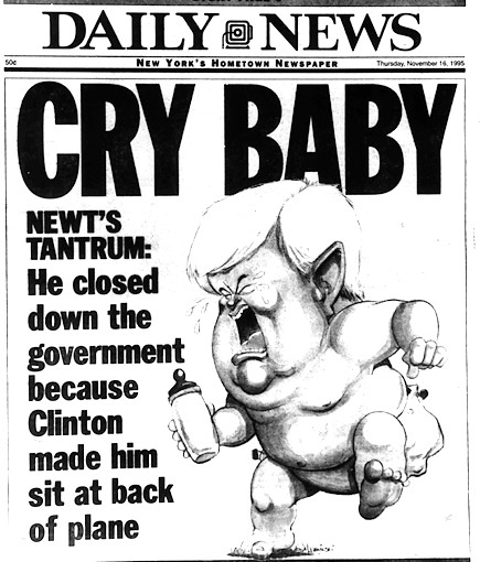 This classic picture was on the cover of the New York Daily News from that period it shows how the Republicans got lost trying to deliver their message.