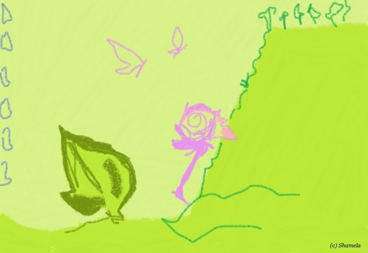 My drawing of a rose near a cliff.