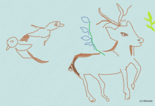 My drawing of a deer and birds.