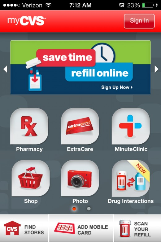 Notice the large self-banner ad at the top of myCVS, which changes all the time. Also note the inconsistent user interface.