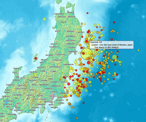 Map of the Sendai Earthquake 2011 and aftershocks until March 14, 2011.