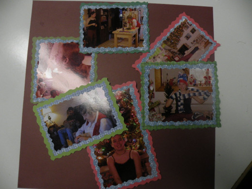 Photos for layout cut and adhered to backgrounds