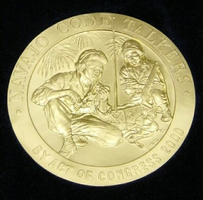 Congressional Gold Medal awarded to Navajo Code Talkers in 2000.
