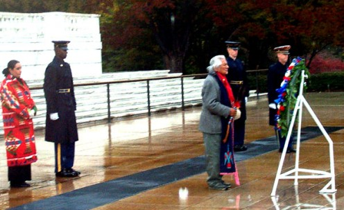 Charles Chibitty offers an Indian prayer at the Tomb of the Unknowns at Arlington National Cemetery. He visited at least times, during Native American Heritage Month in November: 1992, 1999, and 2002.