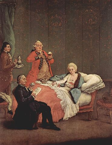 Chocolate being enjoyed as a luxurious beverage amongst the European nobility