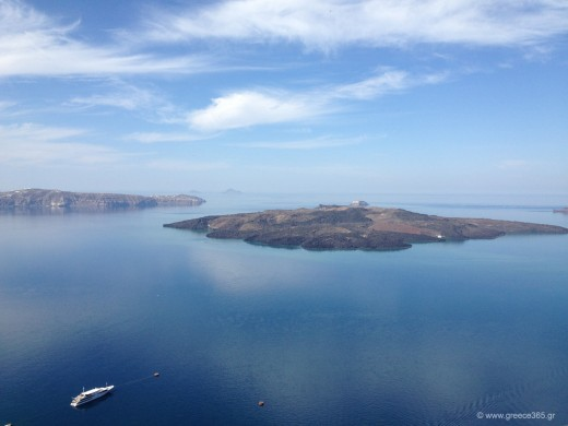 In this Photo: The volcano of Santorini