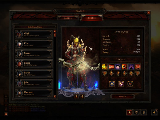 The Diablo 3 PC character screen