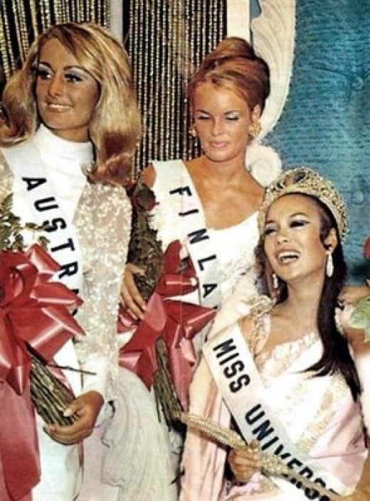 Miss Gloria Diaz (seated) won the first Miss Universe crown for the Philippines, 1969