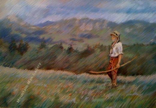 Wilderness Man ~ pastel 20x24 by Jan Berglund